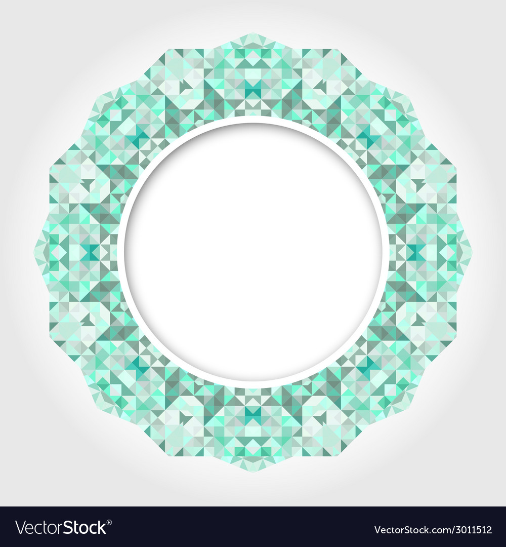 Abstract White Round Frame with Emerald Digital