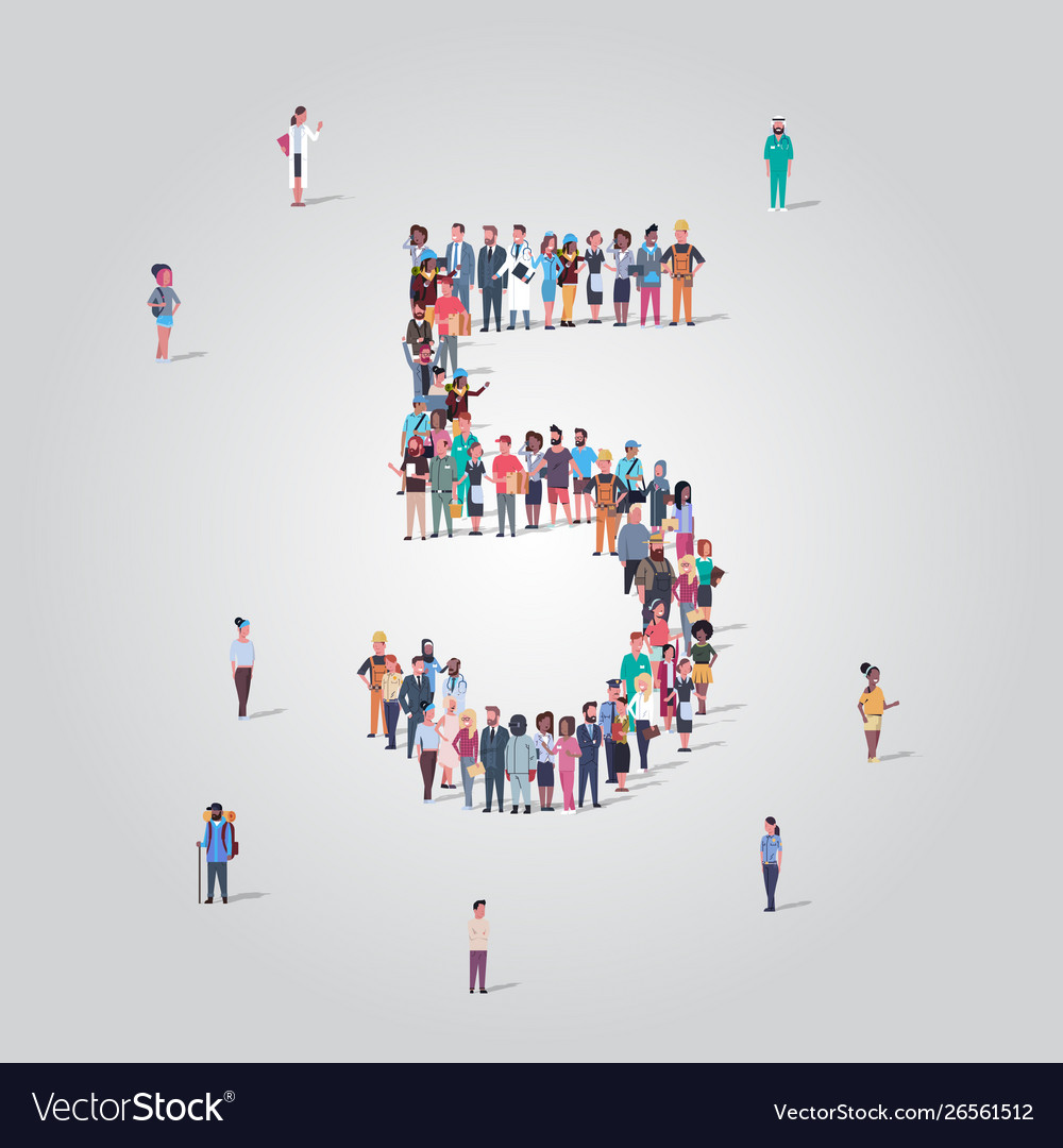Big people crowd forming number five 5 shape
