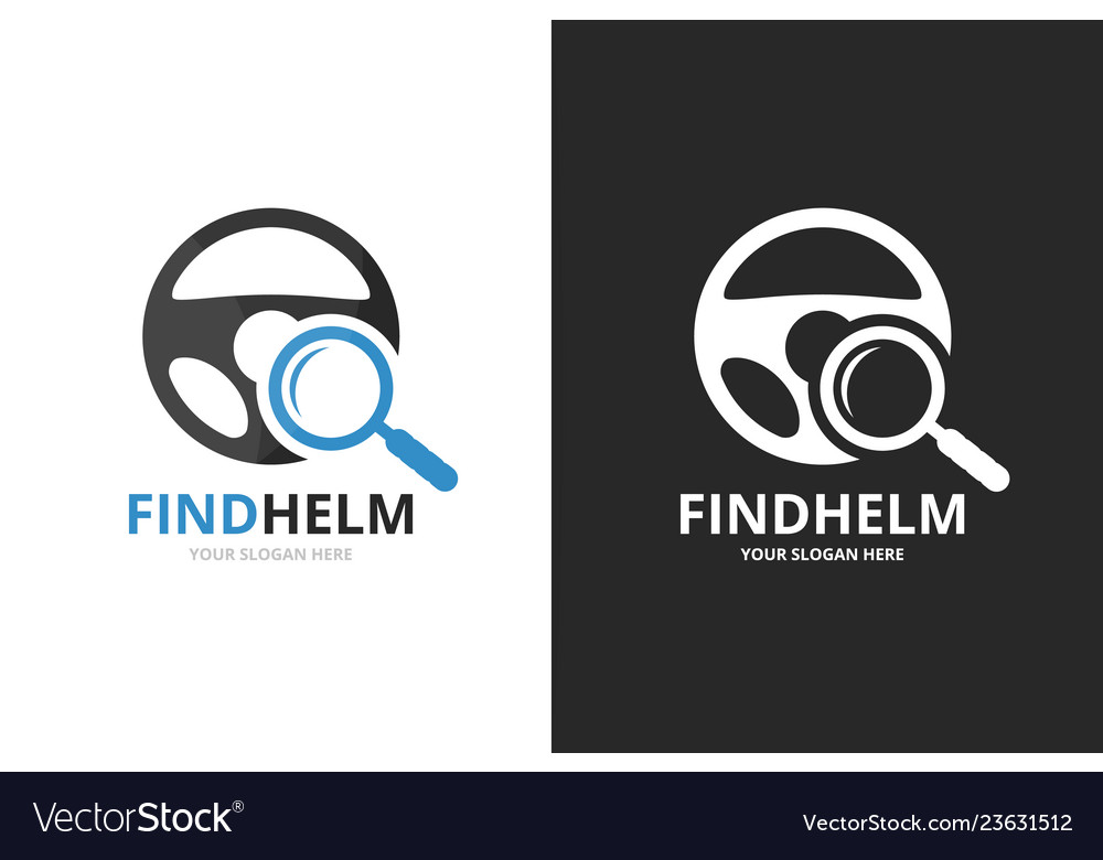 Car helm and loupe logo combination