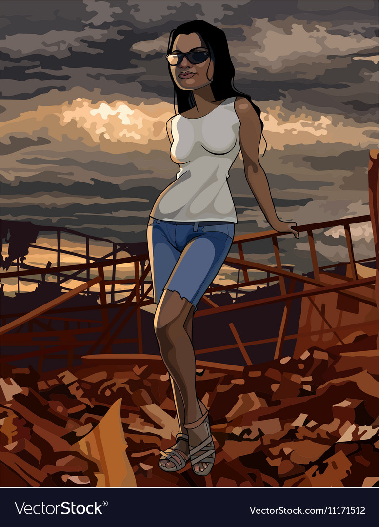 Cartoon woman stands on the ruins