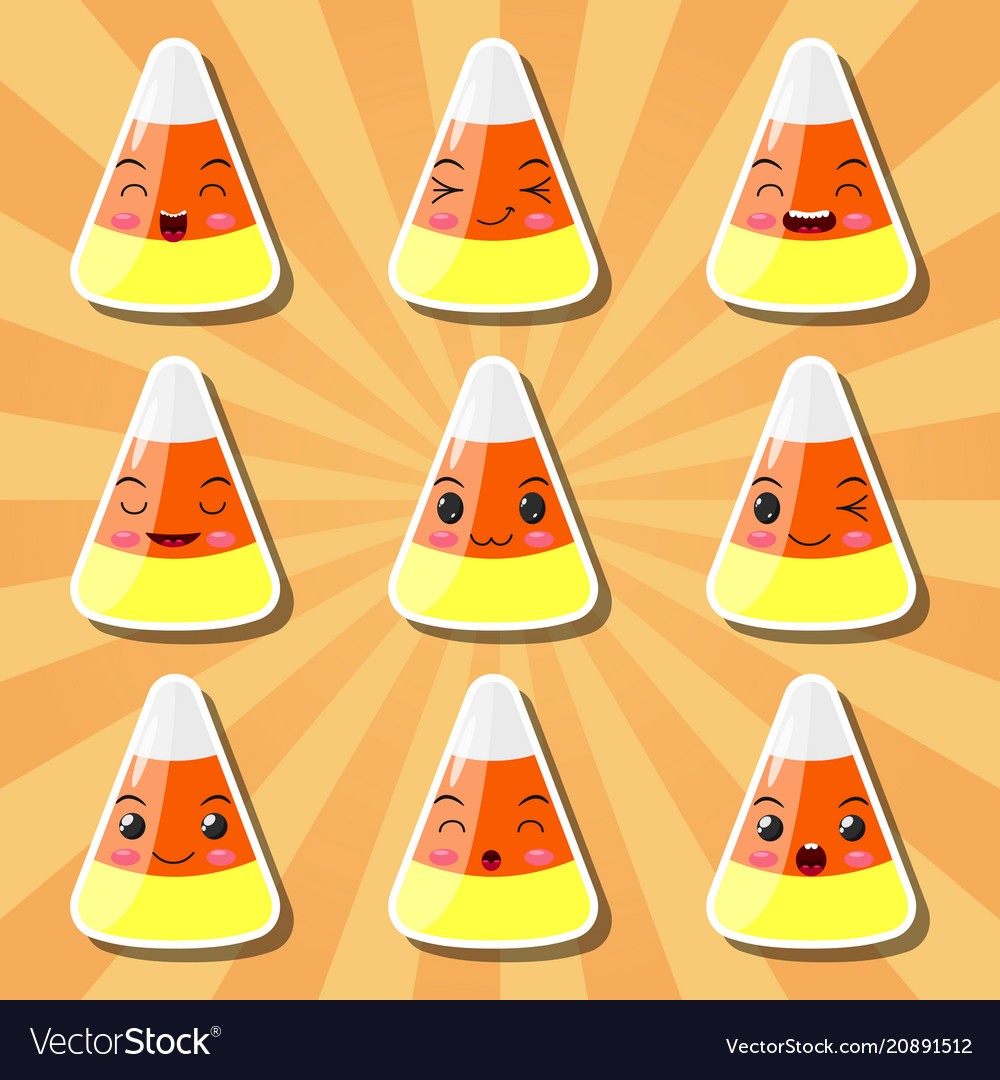 Collection of cartoon candy corn smileys