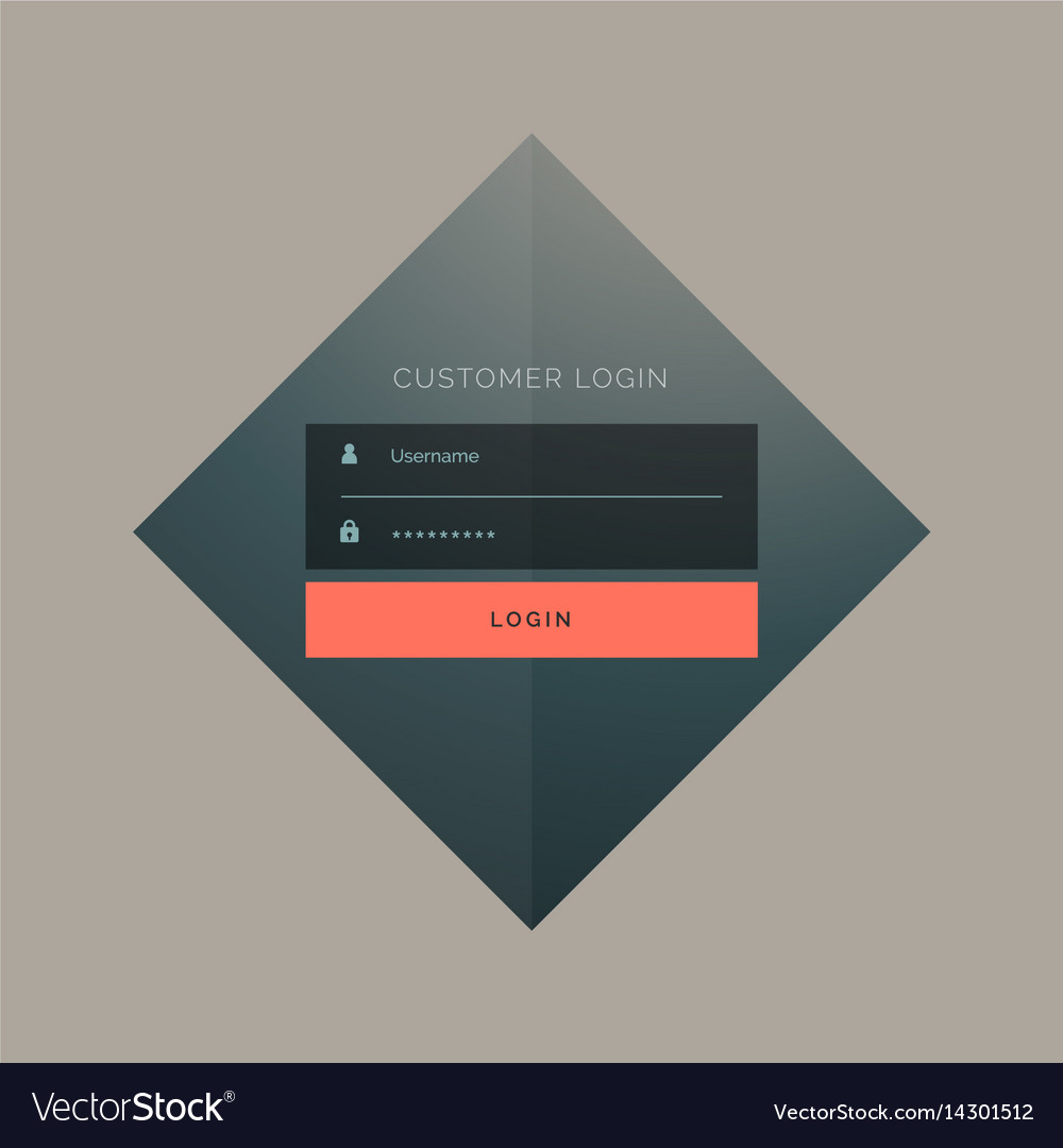 Customer login form design with username and