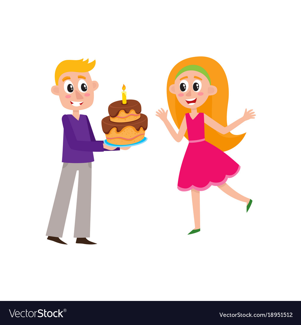 Flat Man Giving Birthday Cake To Woman Royalty Free Vector