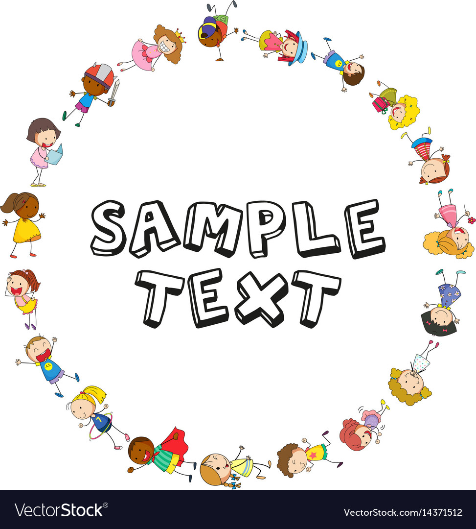 Frame template with kids in circle vector image