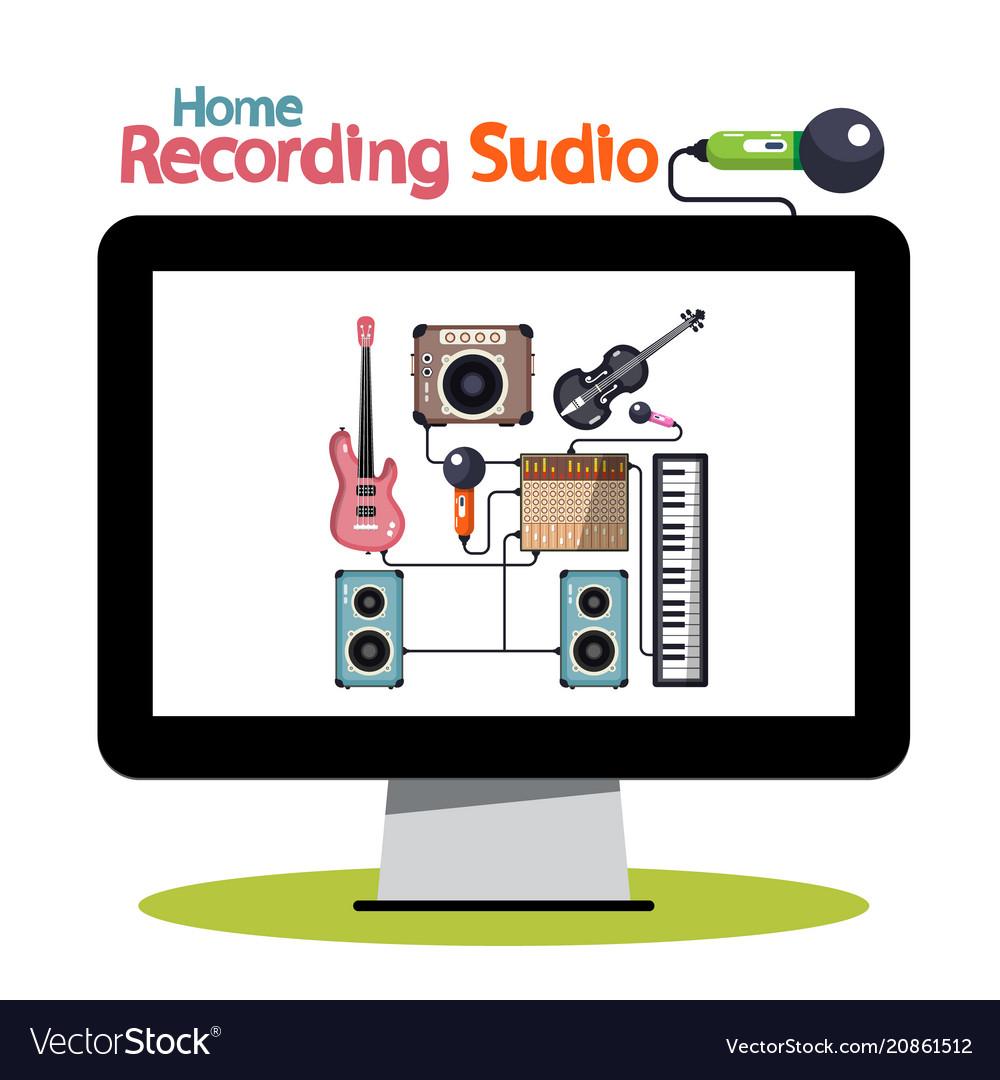 Home recording studio on computer screen