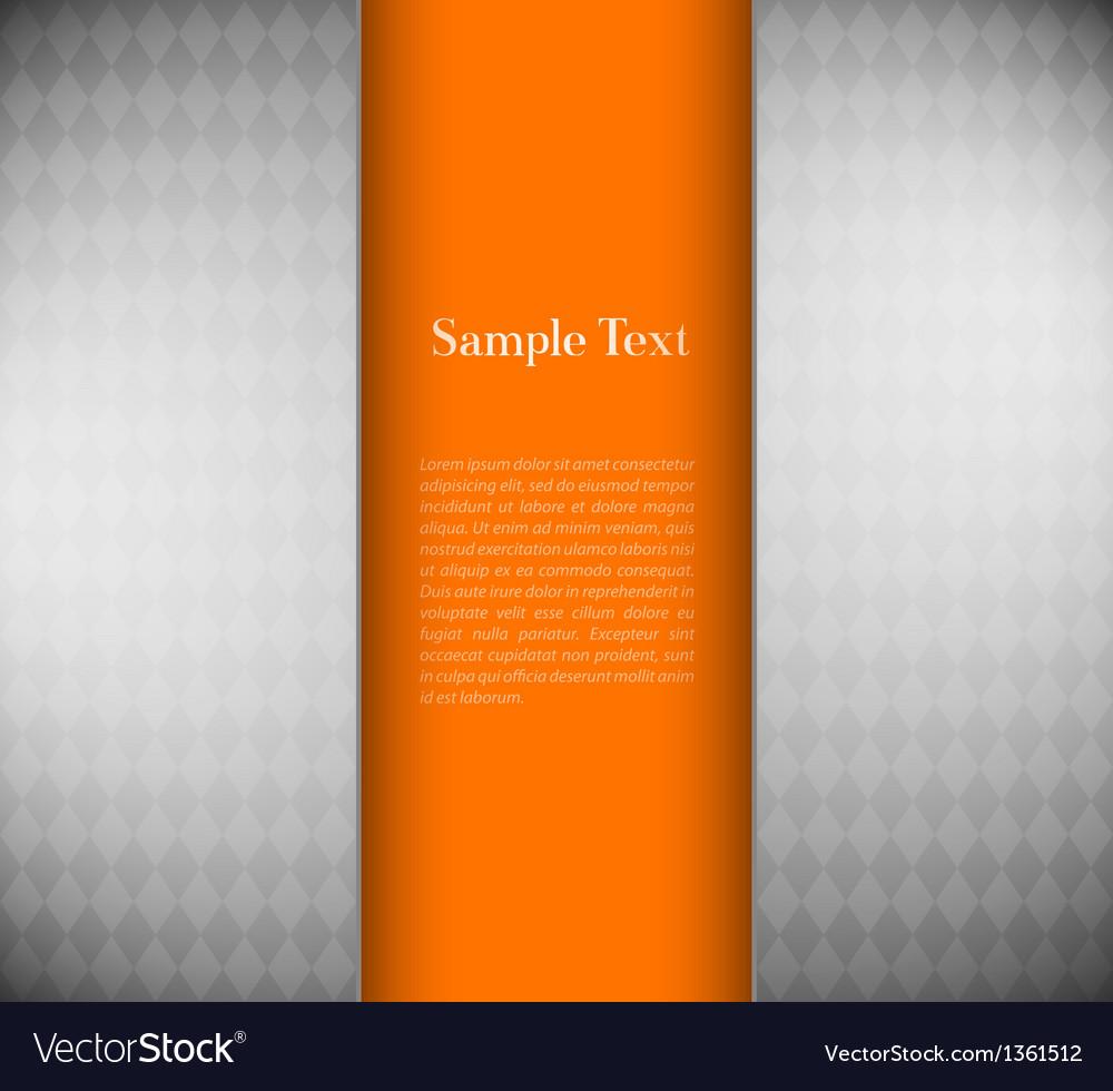 Metallic background with orange card vector image