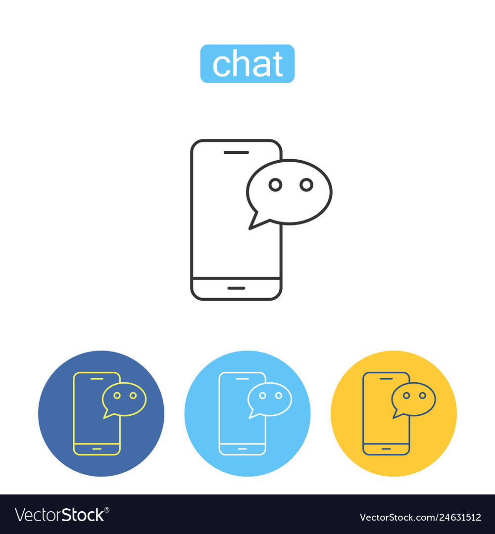 Mobile chatting outline icons set