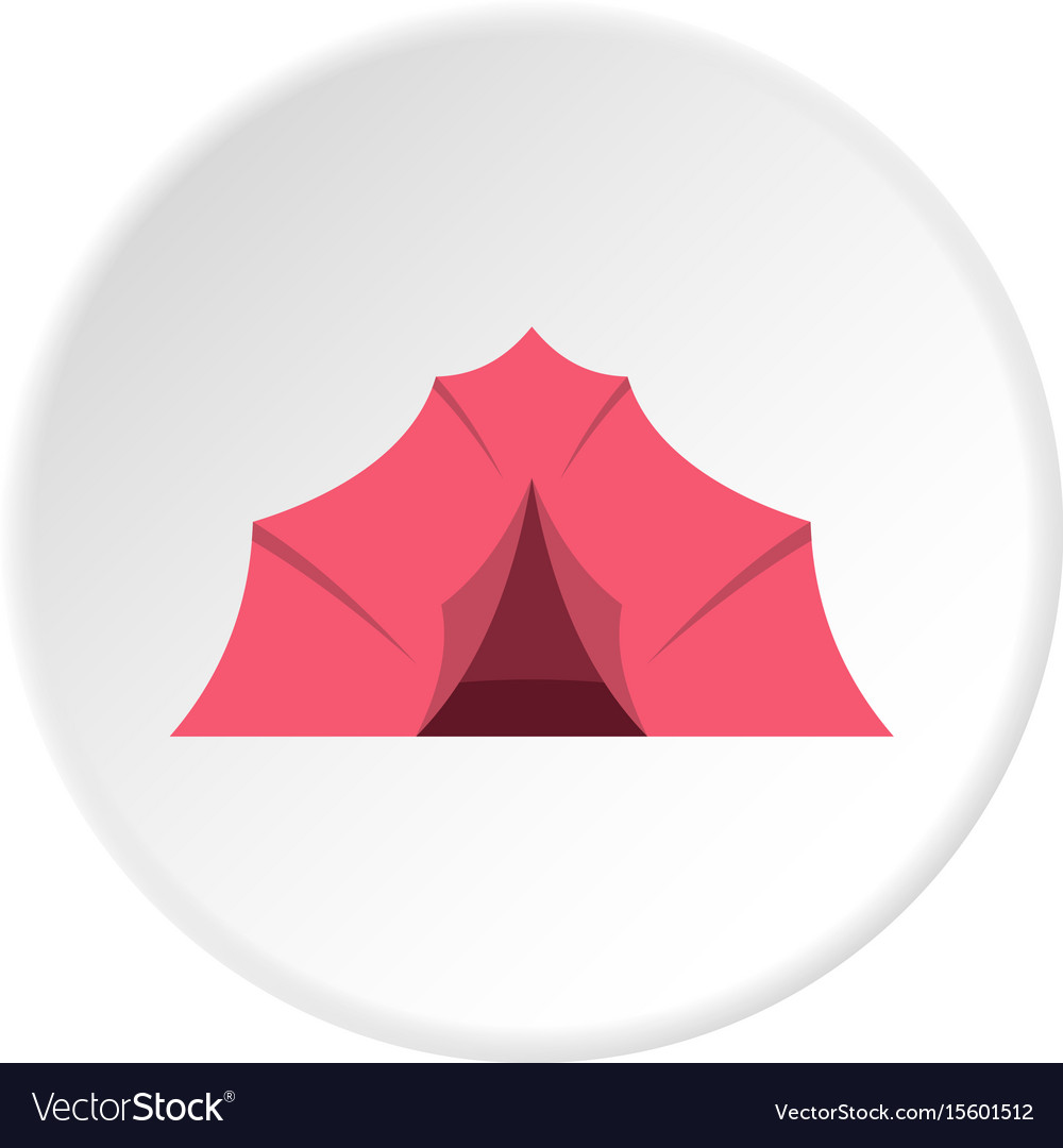 Pink tent for camping icon circle vector image