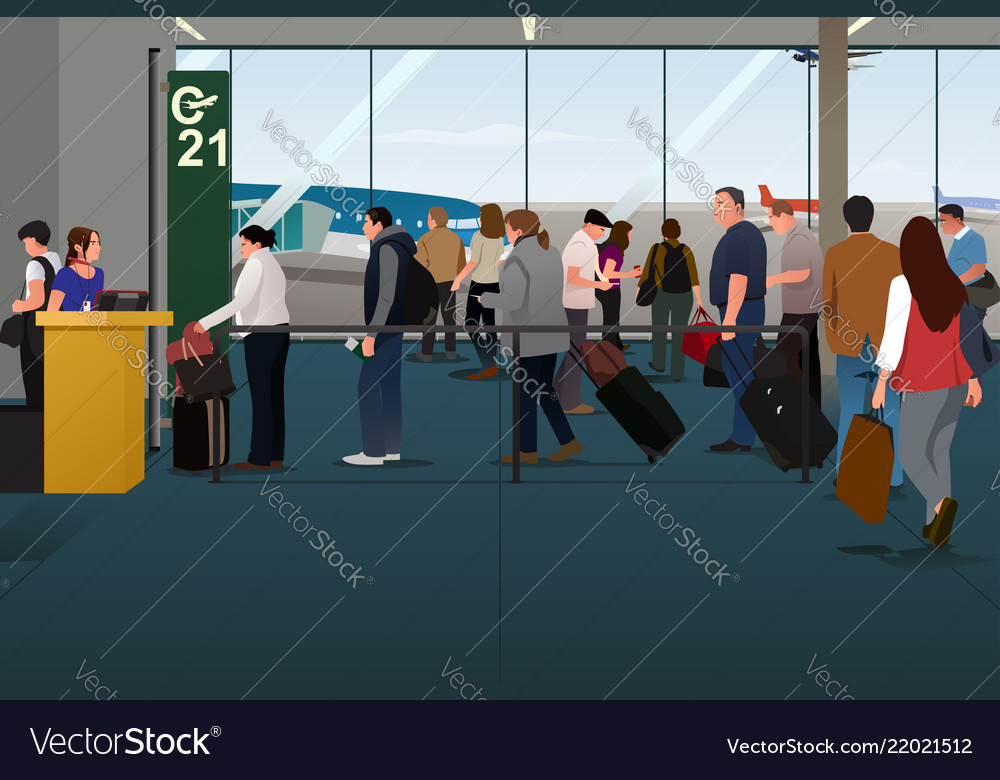 Plane passengers boarding the plane on the