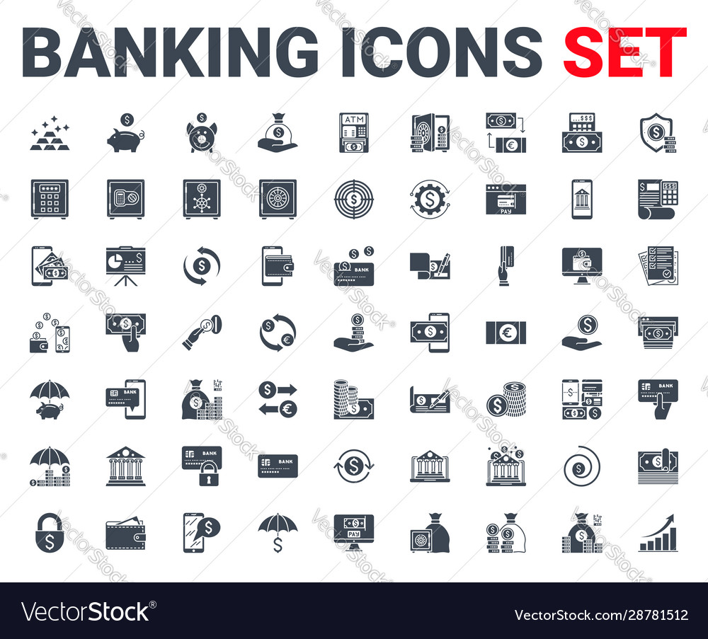 Set banking icons glyph for concepts and web apps