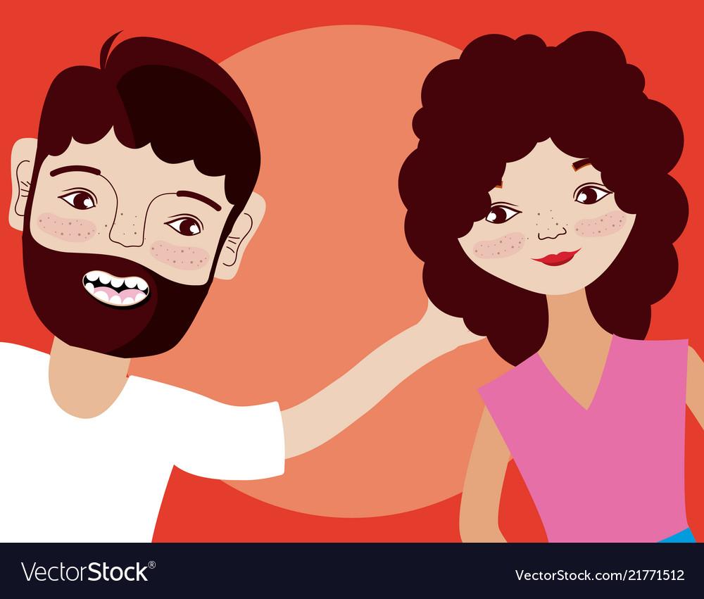 Young couple cartoon