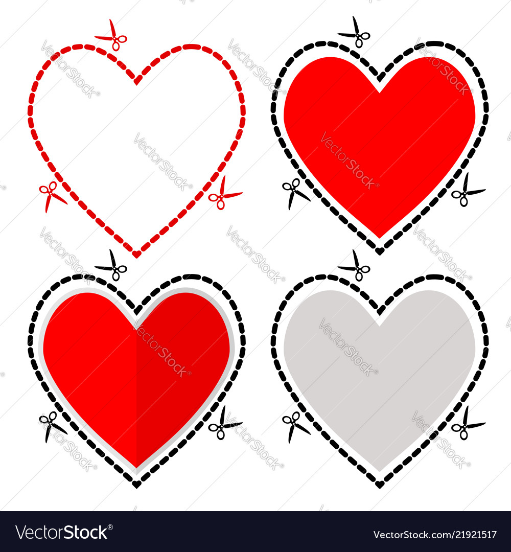 A cut out red heart symbol shape with scissors