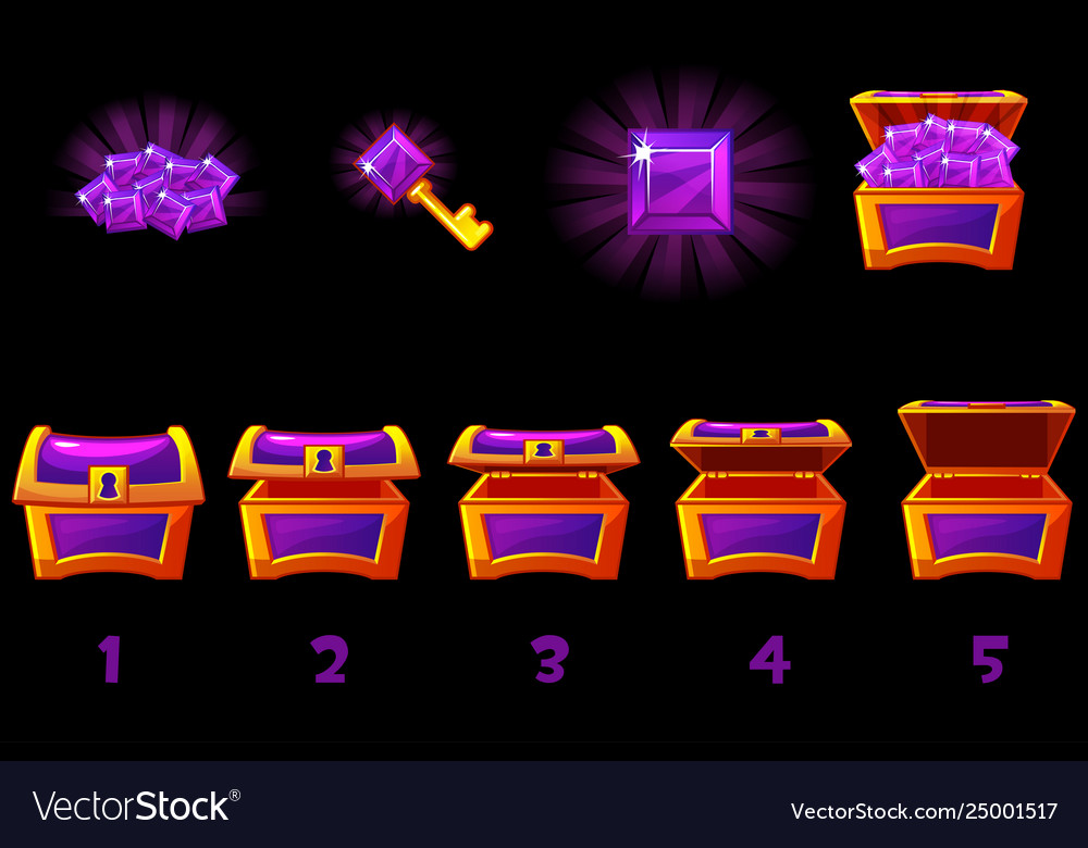 Animated treasure chest with purple precious gem