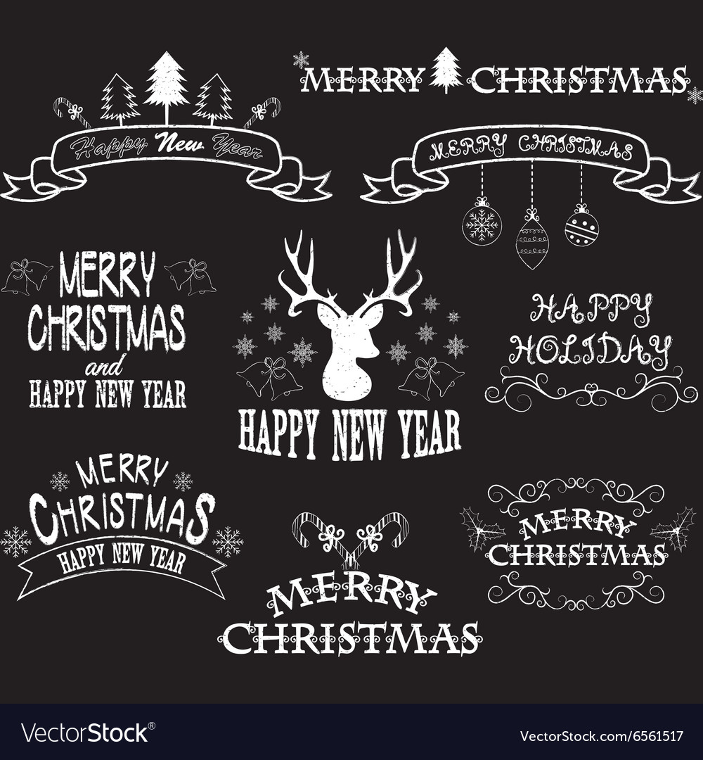 Chalkboard Merry Christmas BorderFont Elements vector image