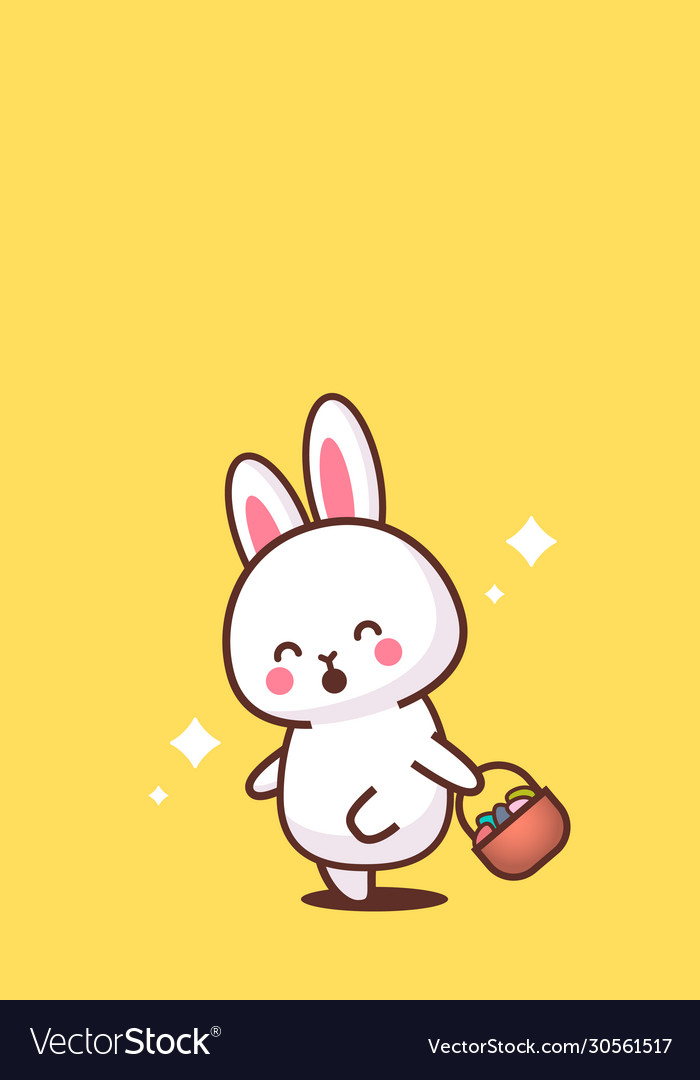 Cute rabbit holding basket with eggs happy easter