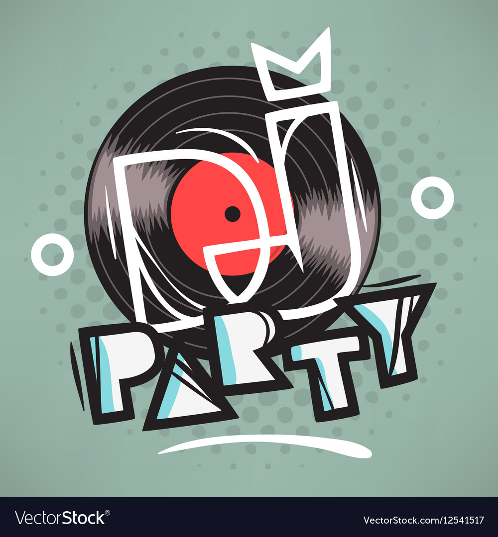 DJ Party Poster Design With Vinyl Record