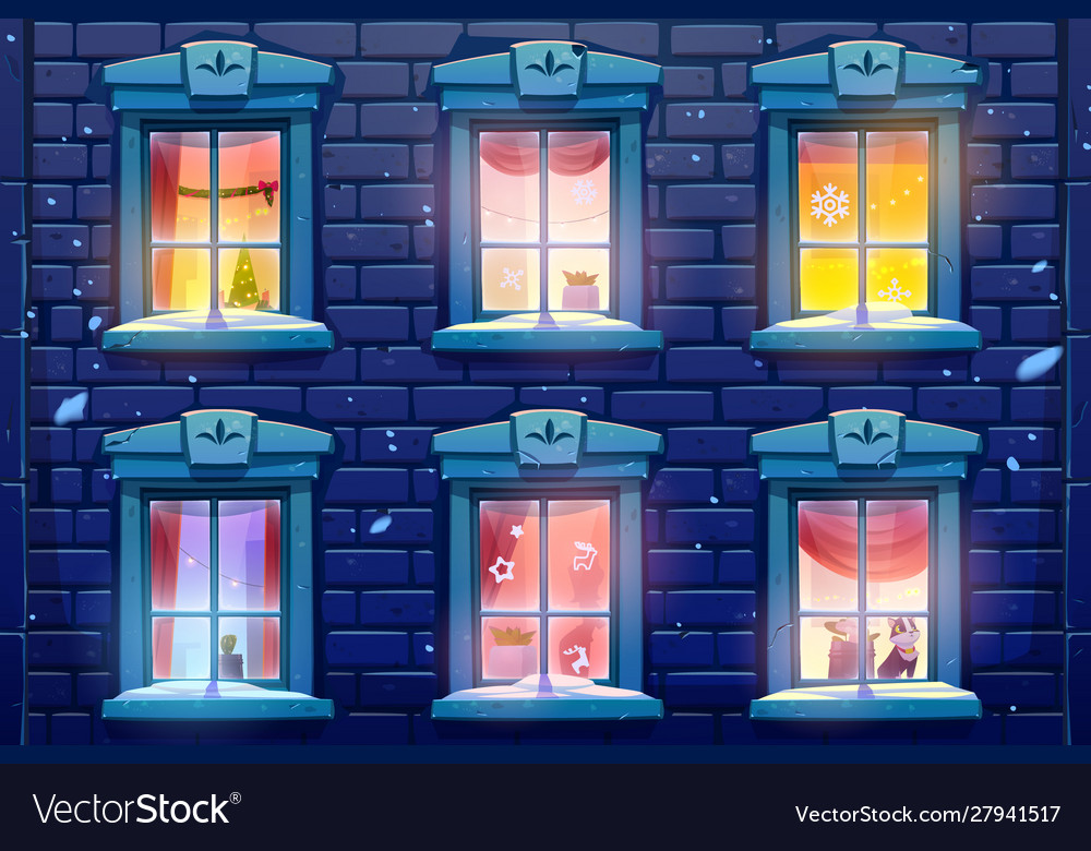 Night windows with christmas and new year decor
