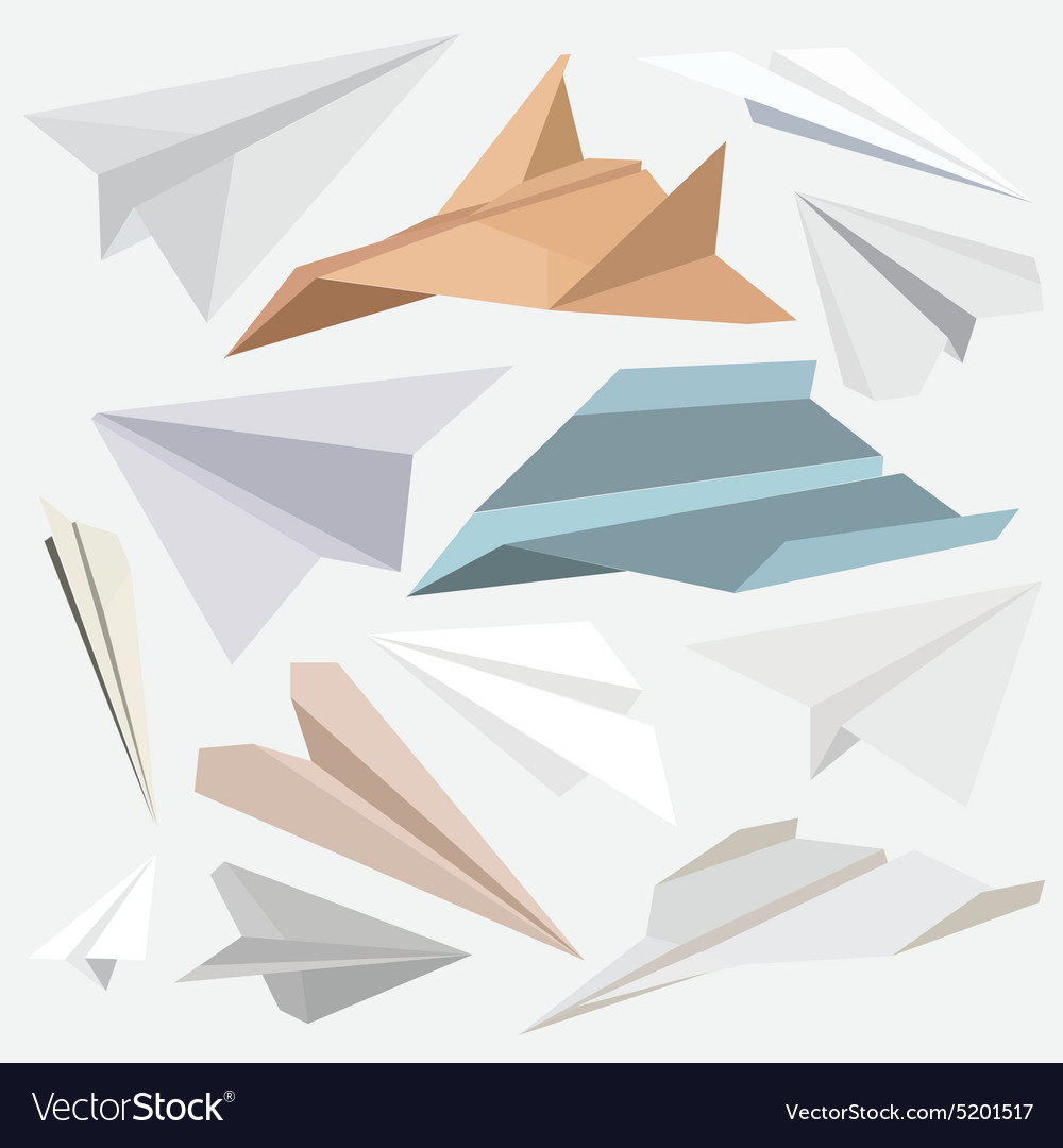 Origami Paper Plane Collection For Websites Flat Vector Image