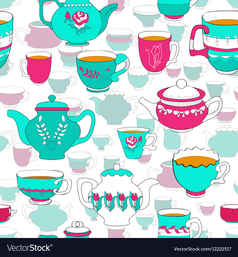 Seamless pattern of the doodle bright cup and pot