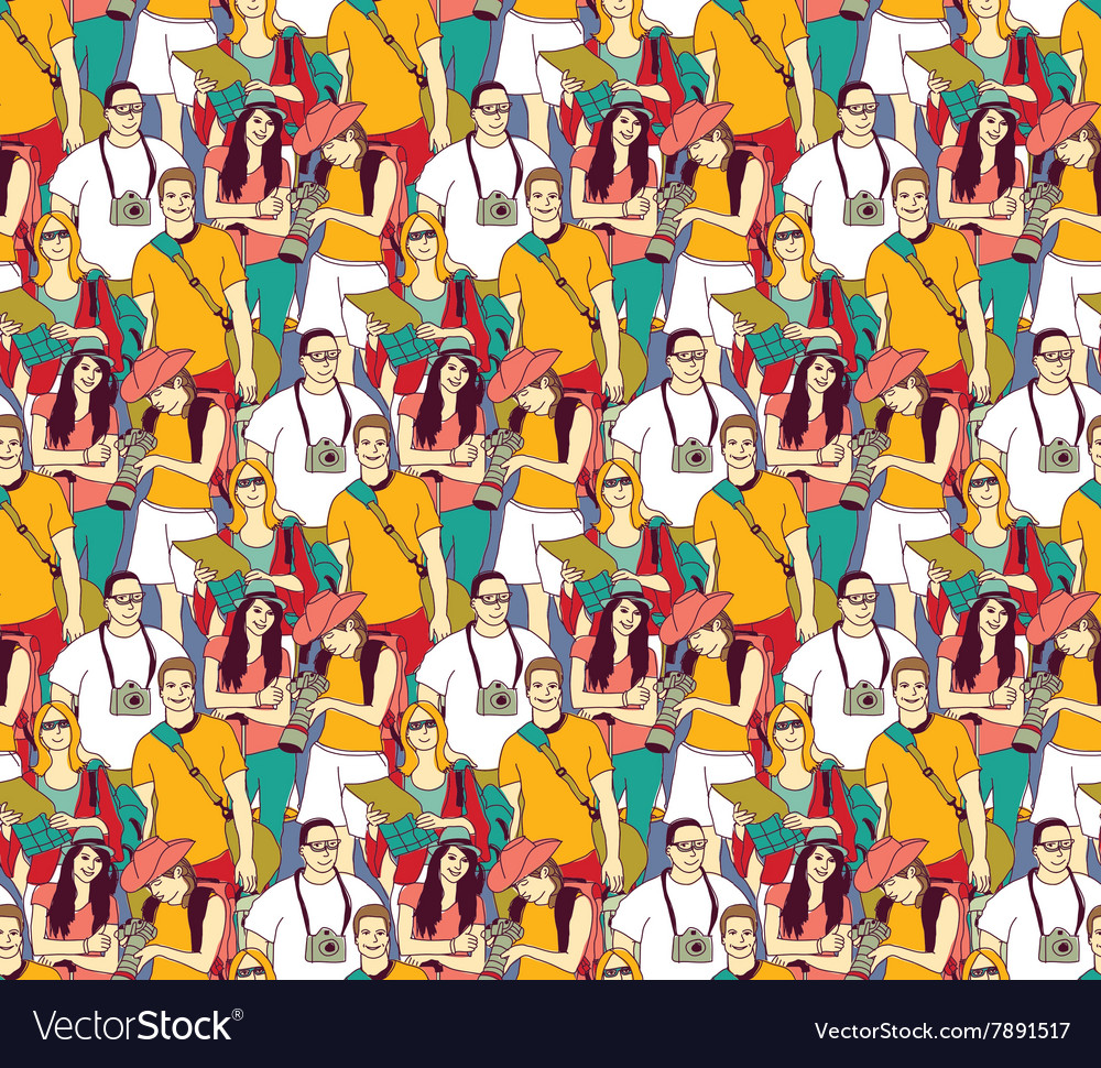 Tourism crowd people color seamless pattern