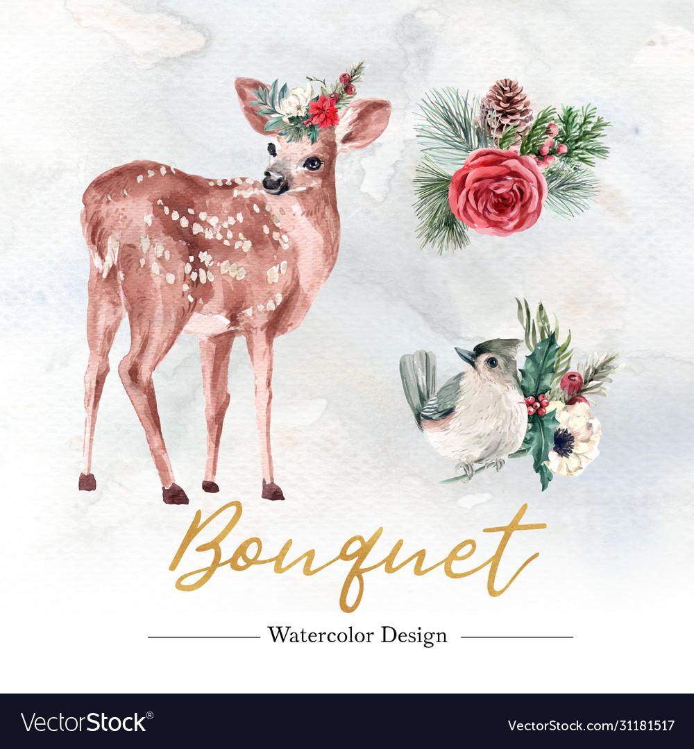 Winter floral blooming elegant wedding invitation