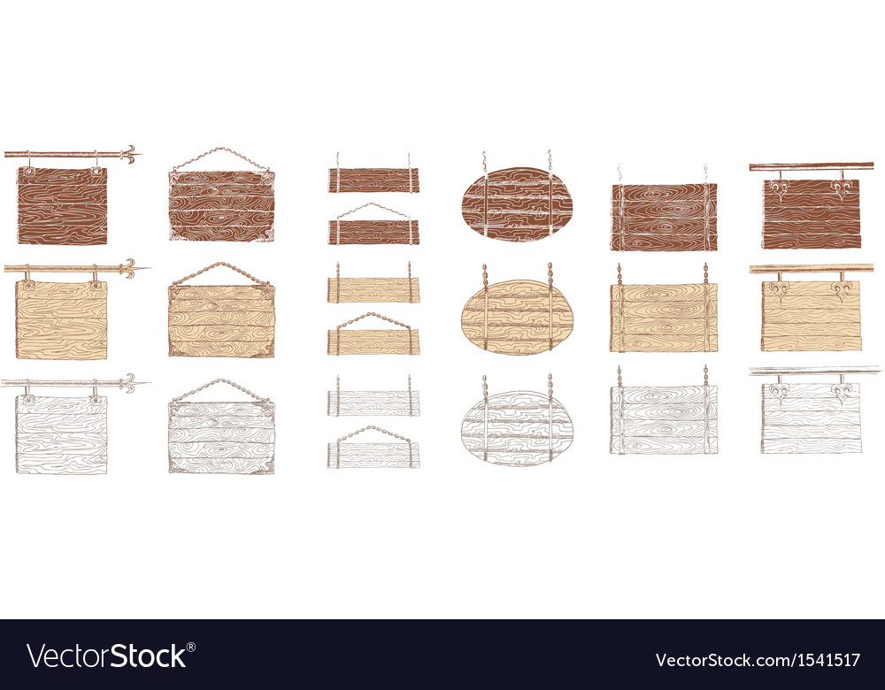 Wooden signboards handdrawn vector image