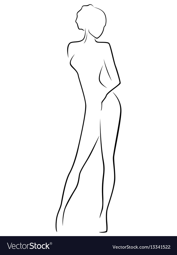 Abstract slim female body vector image