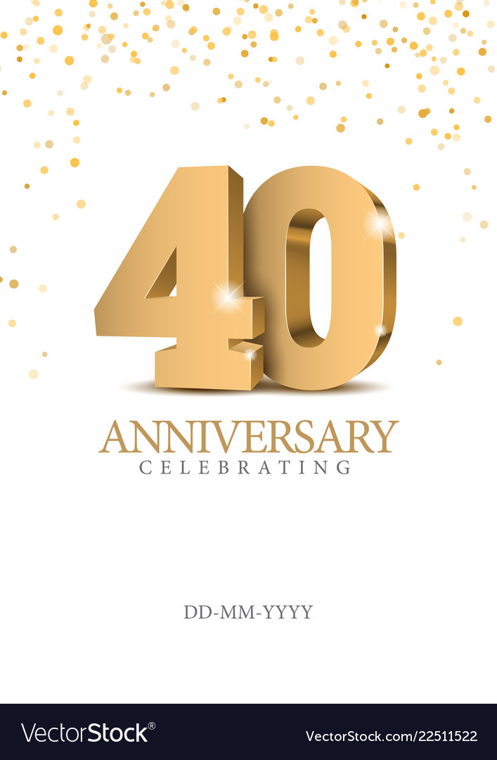 Anniversary 40 gold 3d numbers