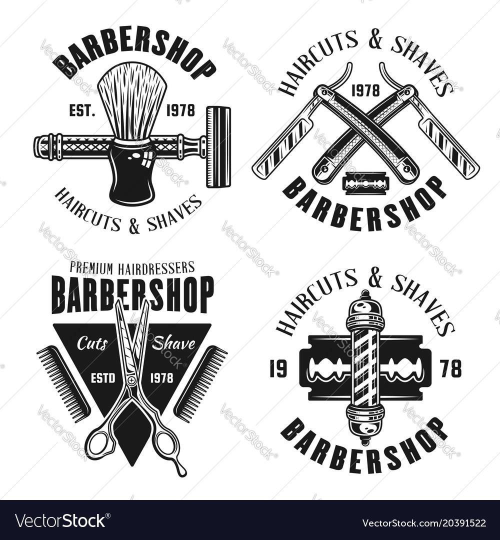 Barbershop four emblems in vintage style vector image
