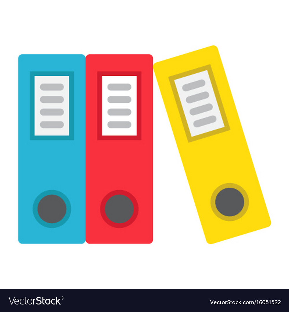 Binders flat icon business and folder vector image