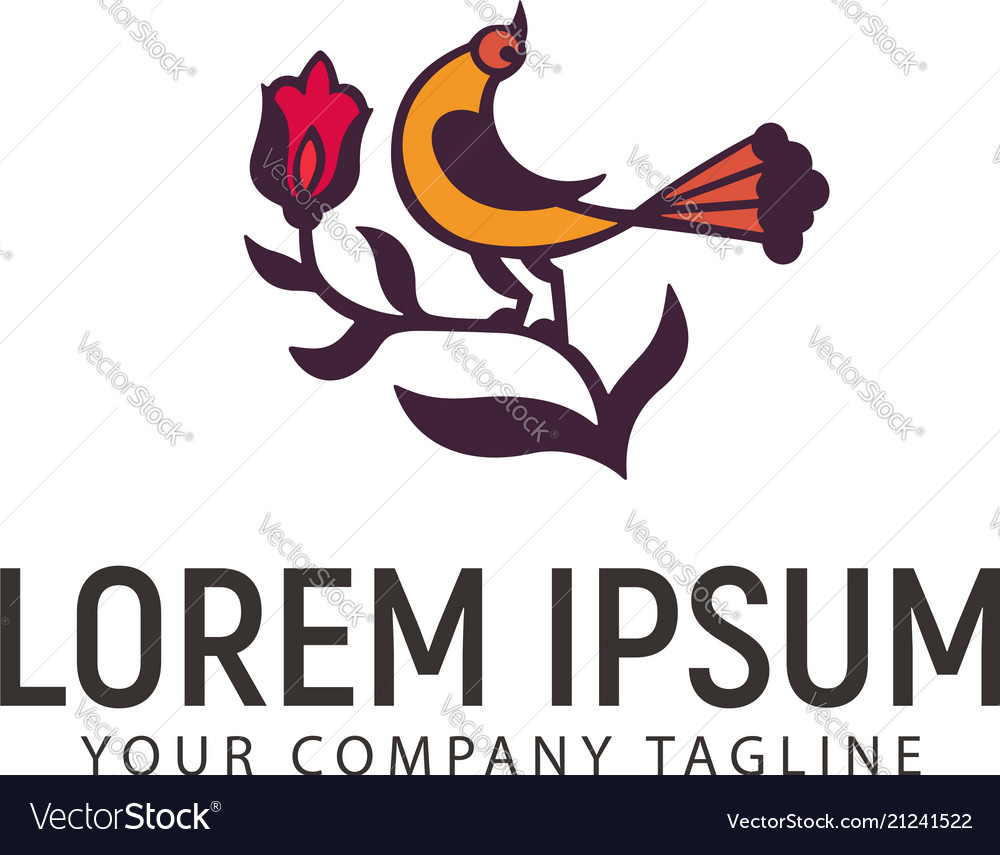 Bird and flower logo design concept template