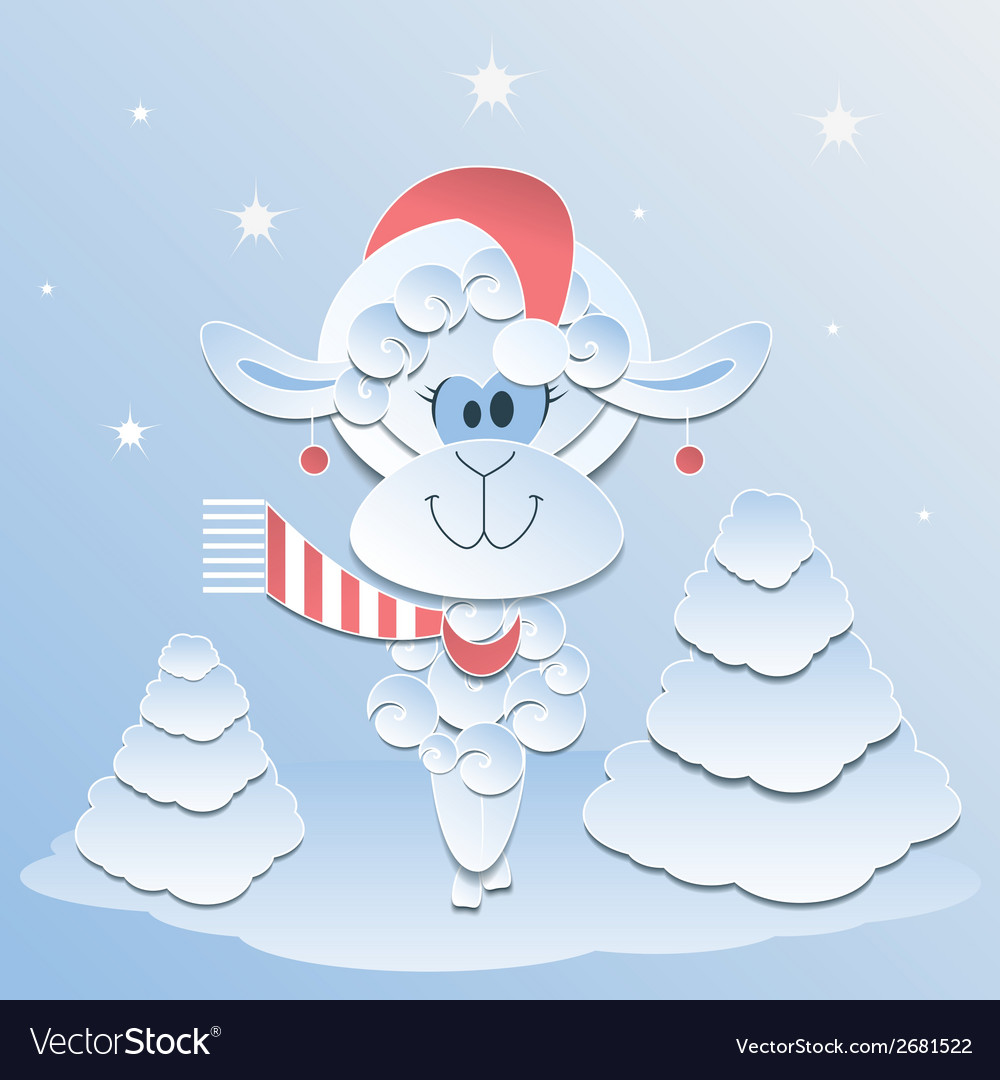 Blue Sheep Symbol 2015 vector image