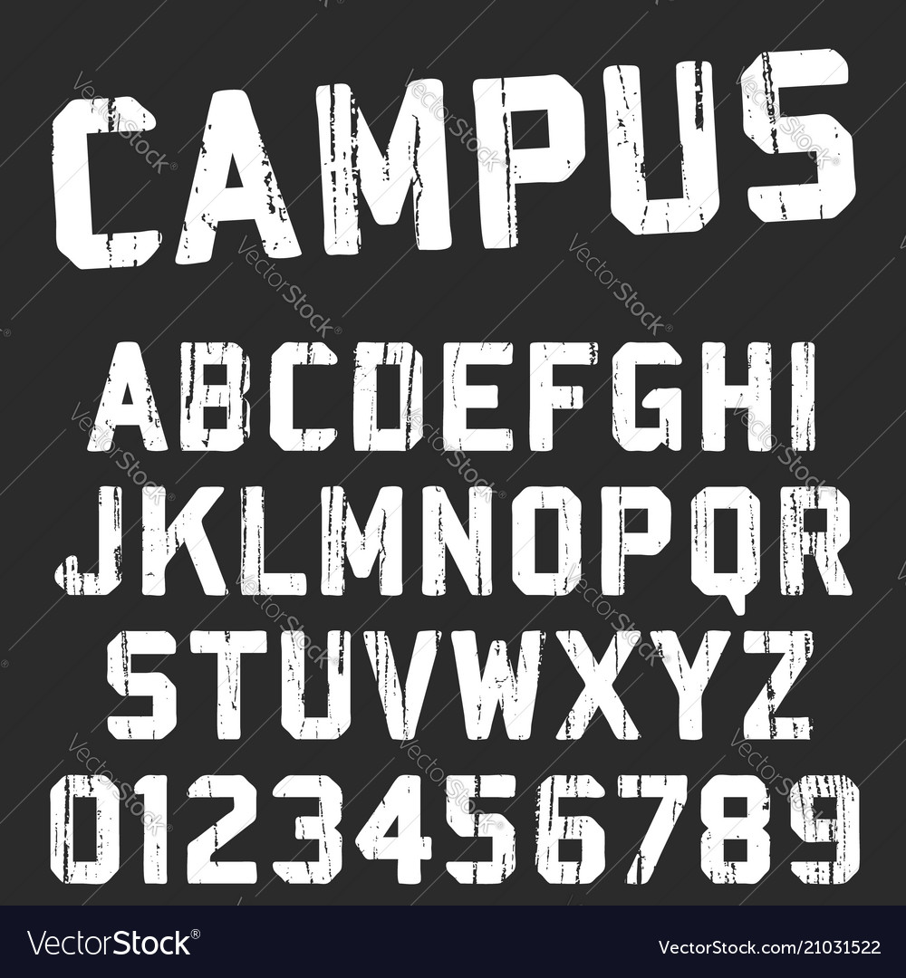 Campus college alphabet font template