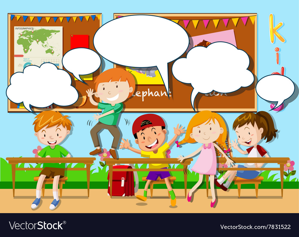 Children playing in the classroom vector image