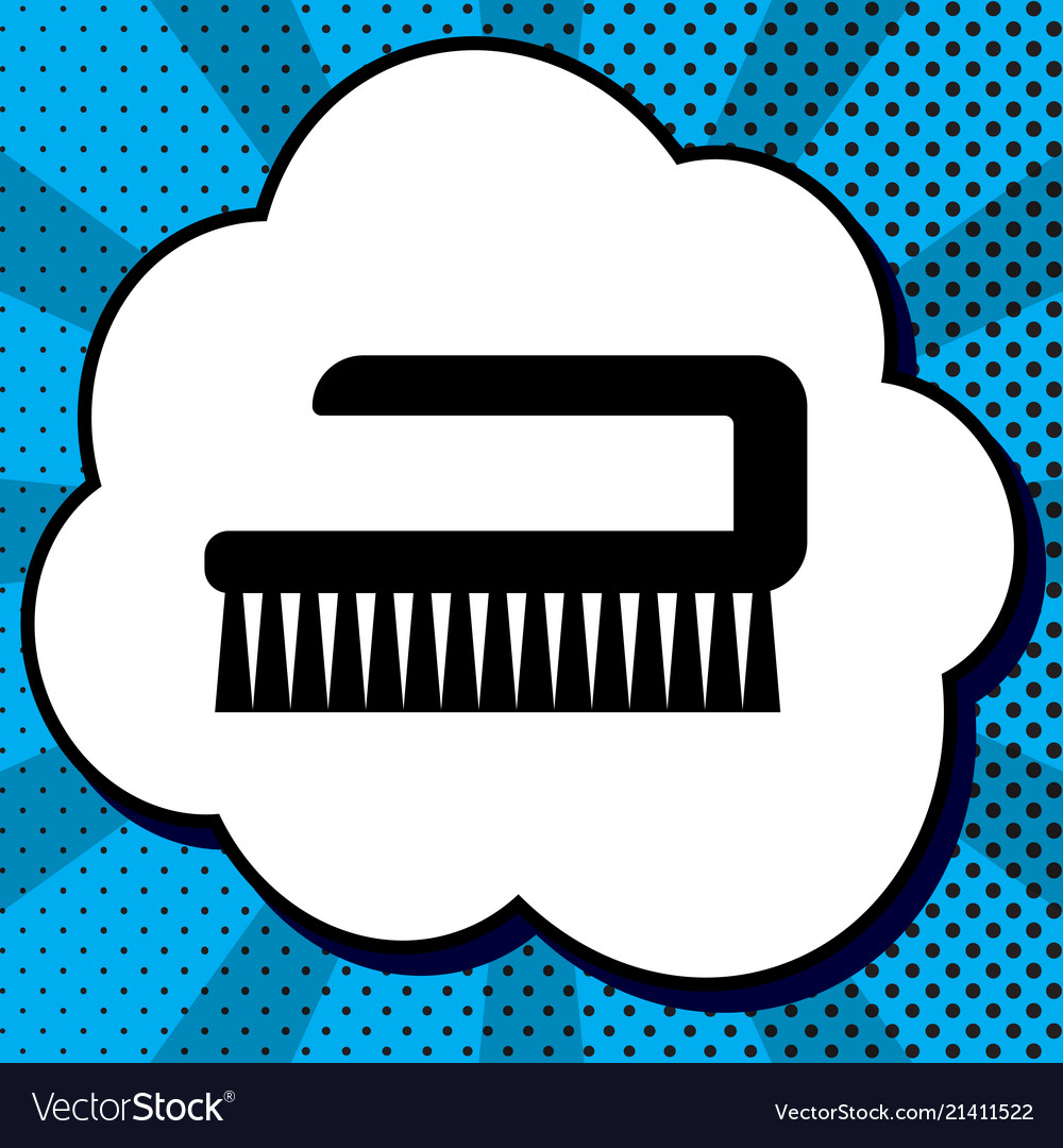 Cleaning brush hygiene tool sign black