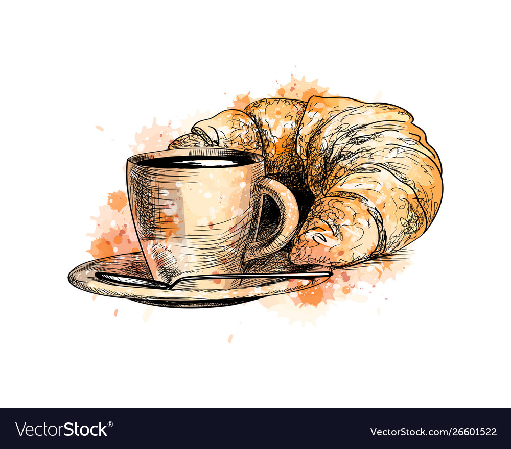 Cup coffee and a croissant from a splash of