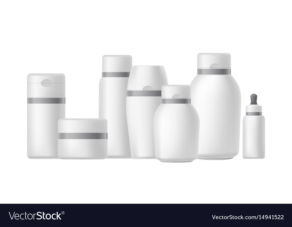 Different bottles and jars for cosmetics