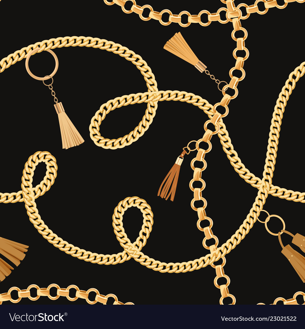 Fashion Seamless Pattern With Golden Chains Fabric