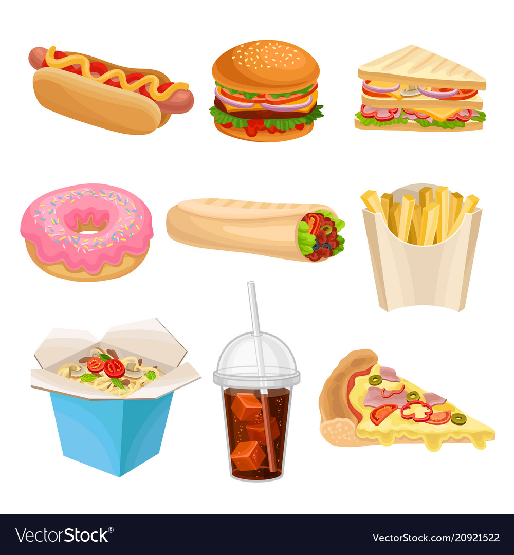 Flat set of fast-food icons delicious