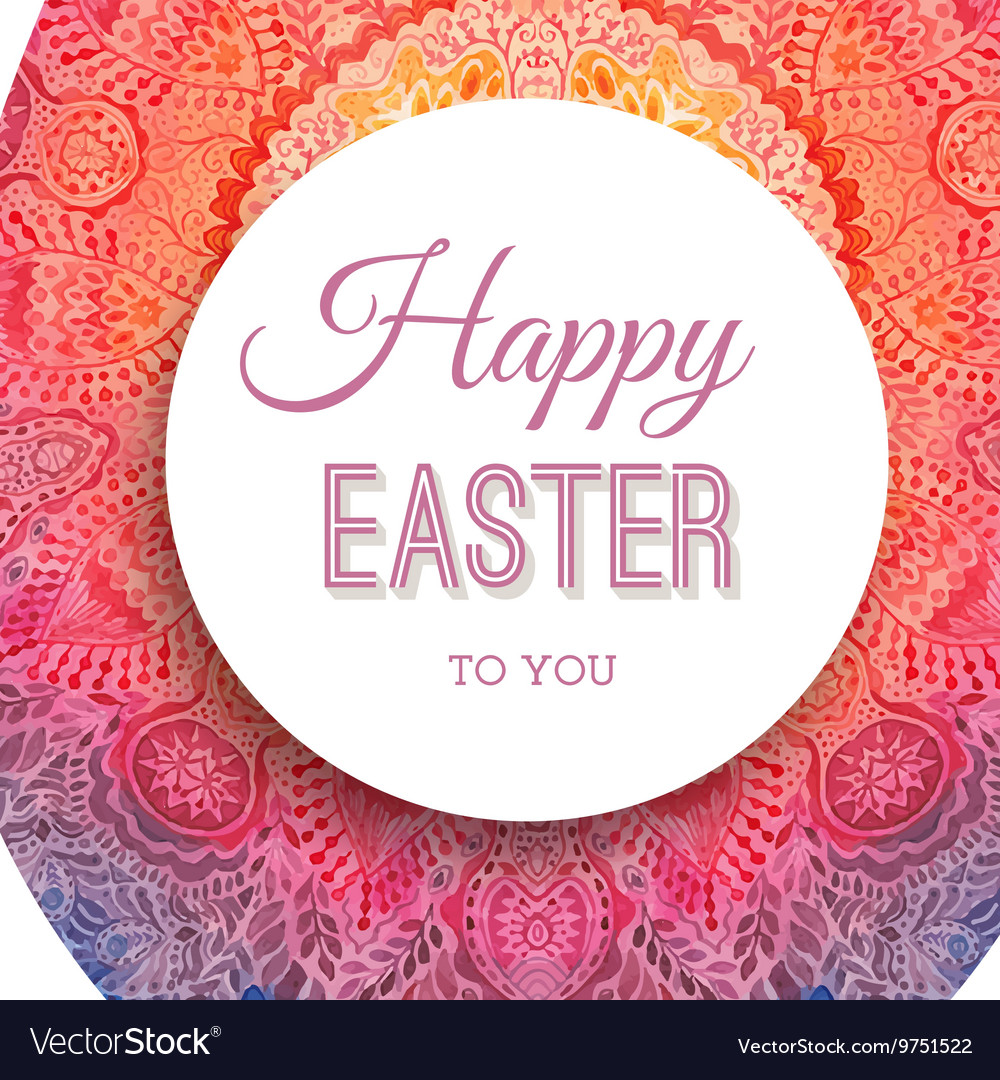 Happy Easter greeting card with watercolor egg