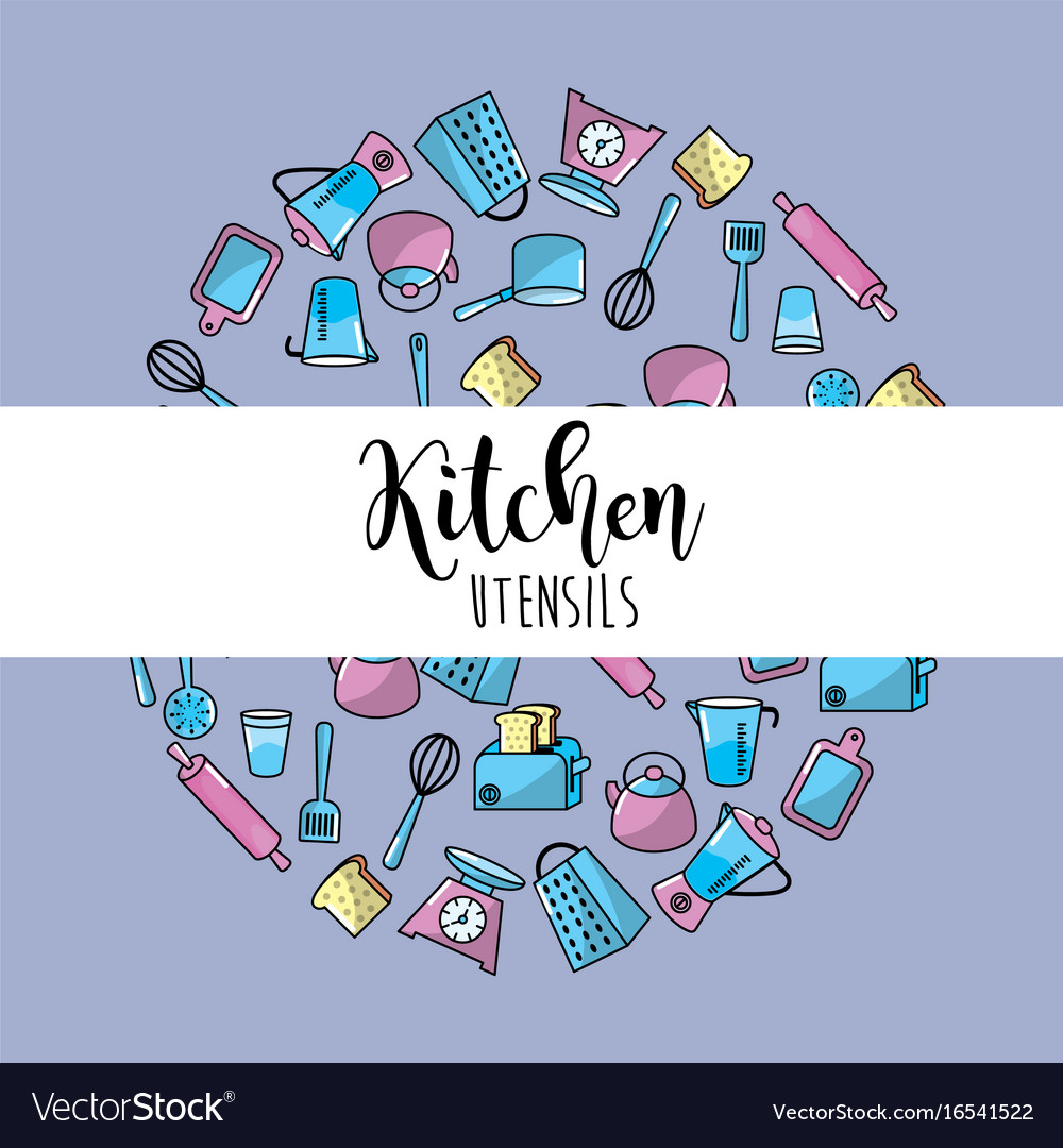 Kitchen utensils culinary collection background Vector Image
