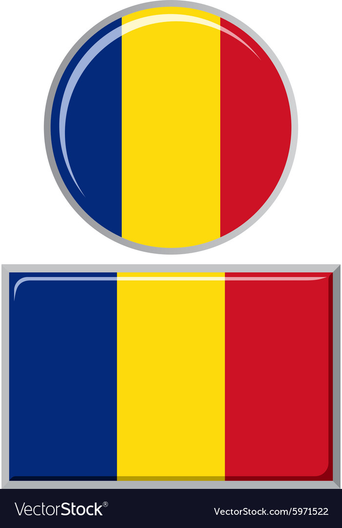 Romanian round and square icon flag vector image