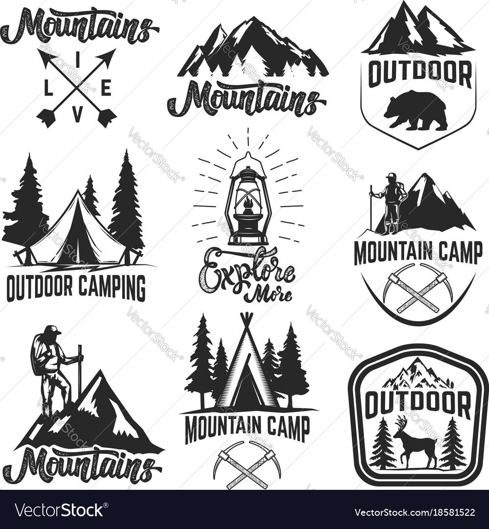 Set mountain camp emblems outdoor