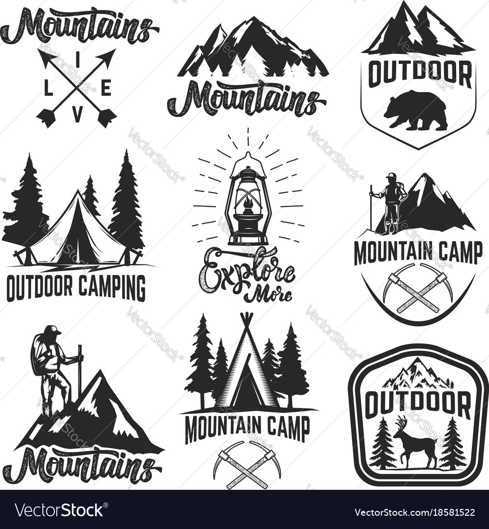 Set of mountain camp emblems outdoor