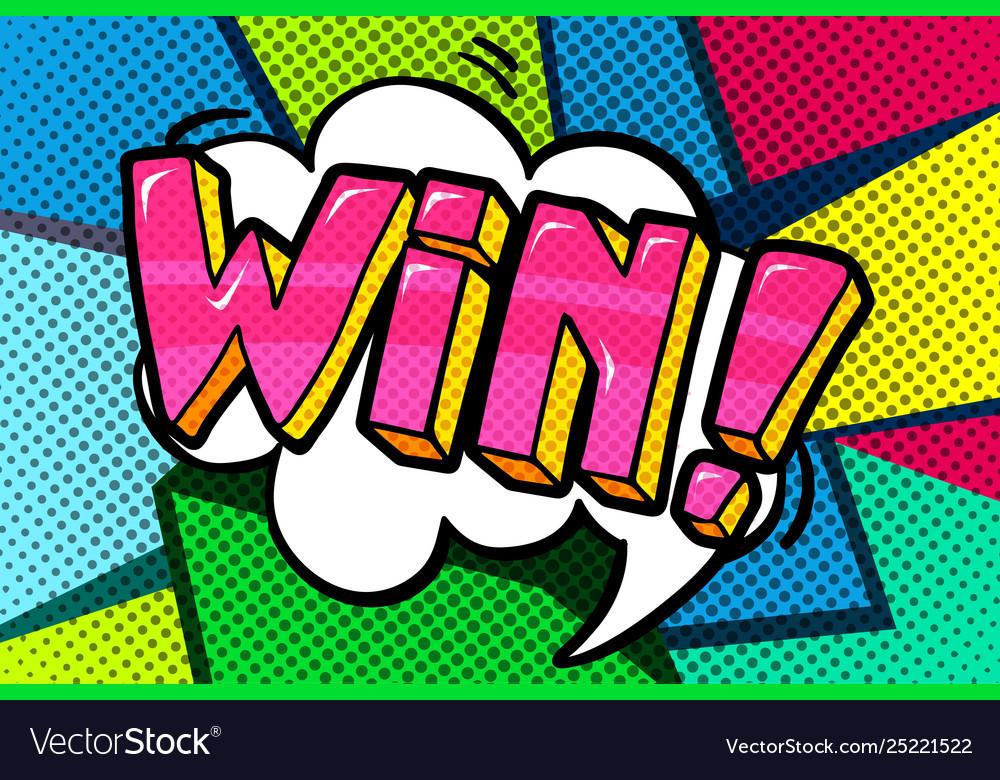 Win message in pop art style