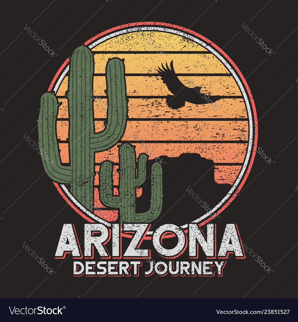 Arizona t-shirt typography with cactus mountain