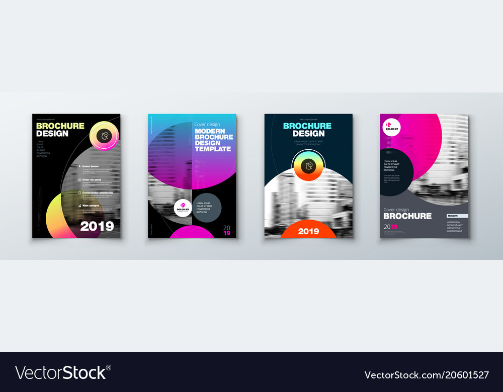 Bright Circle Brochure Cover Design Set Template Vector Image