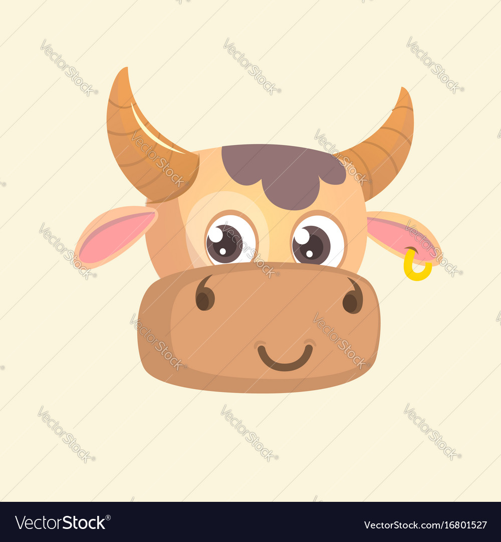 Cartoon bright brown smiling cow
