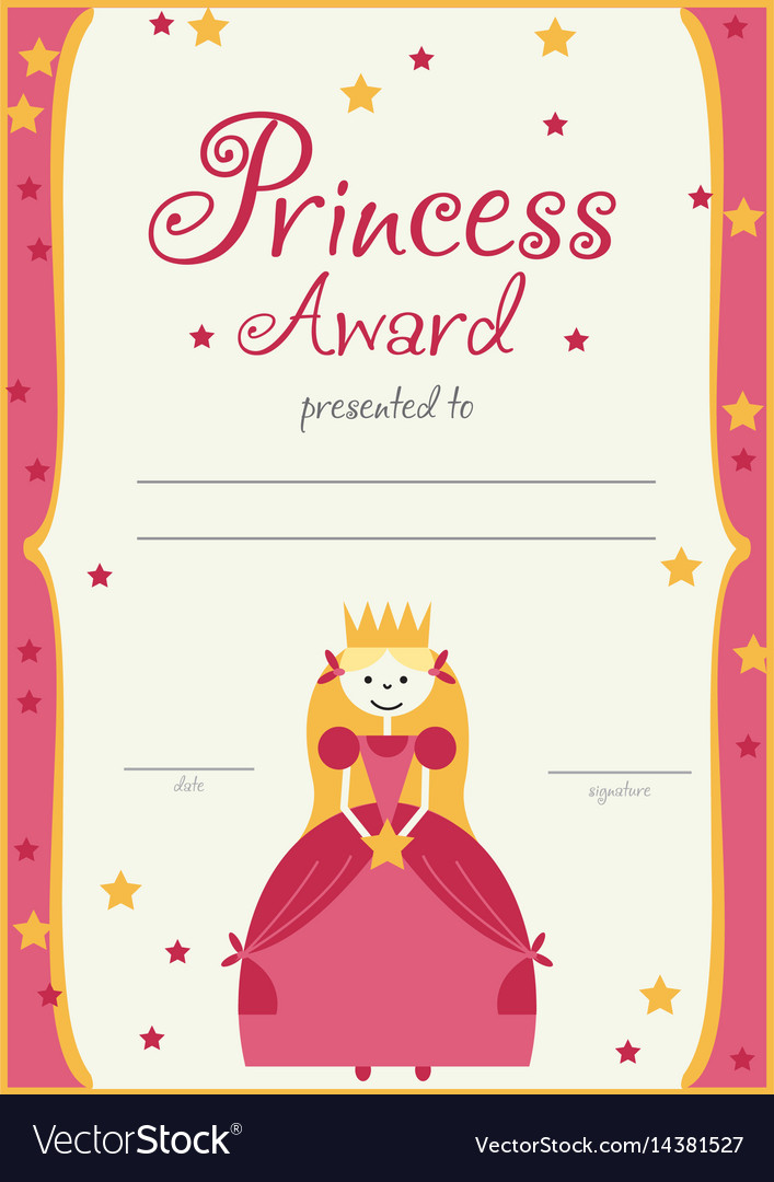 Certificate template princess girls birthday