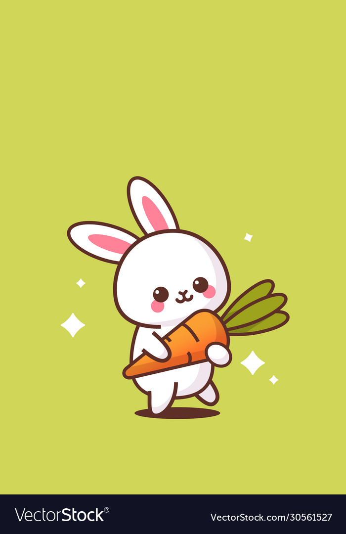 Cute rabbit holding carrot happy easter bunny